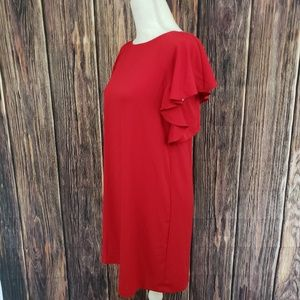 Zara Dresses - Zara Red Ruffle Dress Wiyh Keyhole Back
